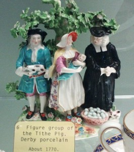 Historical Proof: The Tithe Pig, group in Derby Porcelain, c. 1770